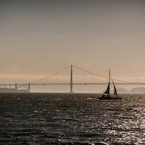 san francisco by Anthony Ashcroft - Landscapes Waterscapes ( canon, water, anthony, suspension, francisco, boat, 50d, usa, gate, honeymoon, east coast, gate bridge, san, bay, bridge, evening, san francisco, golden,  )