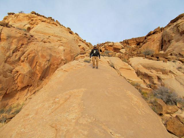 Hiking down a steep fin