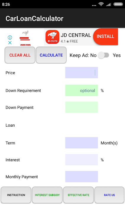 Down Payment Calculator >> Car Loan Calculator Android Sovellukset Appagg