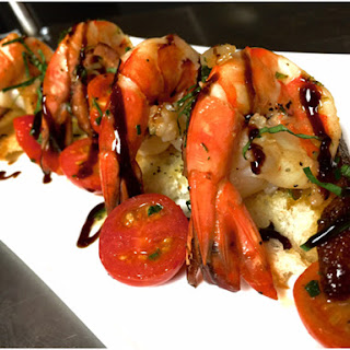 Chef Barret Beyer's Tequila Flamed Tiger Shrimp Bruschetta.