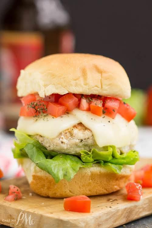 """Bruschetta Turkey Burger Sliders""""Bruschetta Turkey Burger Sliders are deliciously healthy ground turkey..."""