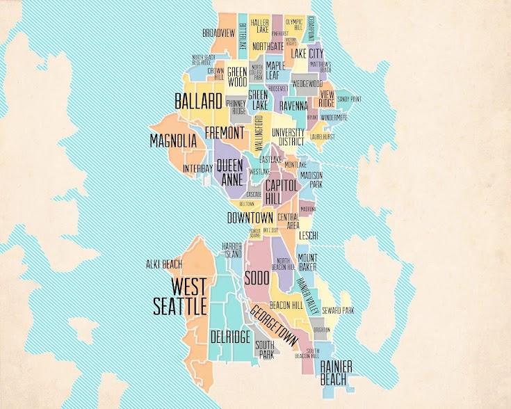 Imagén: Un mapa de los vecindarios de Seattle.