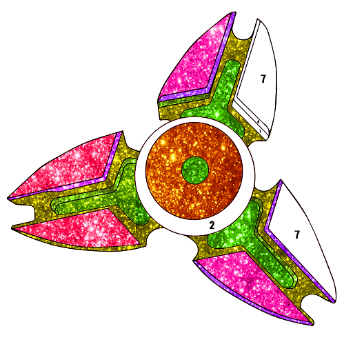 Adult Fidget Spinner Glitter Color by Number Book Icon