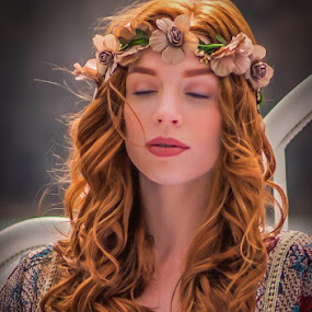 Springtime Fairy by Lynn Kirchhoff - People Portraits of Women ( sleeping beauty, peaceful, serene, woman, fairy, redhead, spring, portrait,  )