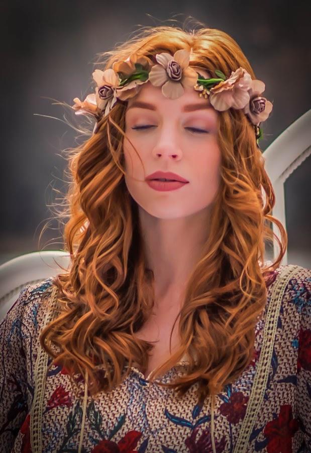 Springtime Fairy by Lynn Kirchhoff - People Portraits of Women ( sleeping beauty, peaceful, serene, woman, fairy, redhead, spring, portrait,  )