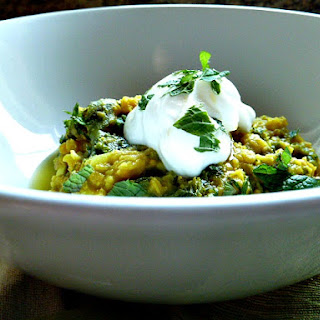 Stewed Red Lentils with Mustard Greens.