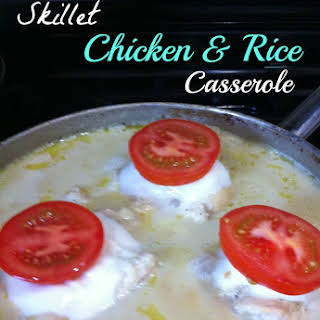 One Pot Meal, Skillet Chicken & Rice Skillet Casserole.