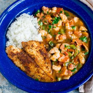 Pan-Fried Flounder with Shrimp Étouffée.
