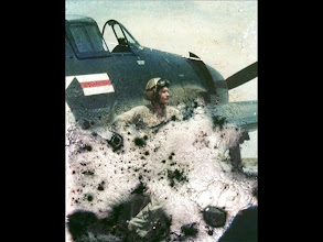 """Photo: NAVCAD Patrick Alonzo Tillery about to fly F6F Hellcat in flight Training """"air to ground."""" This was the slide that deteriorated. Recovered with Photoshop"""""""