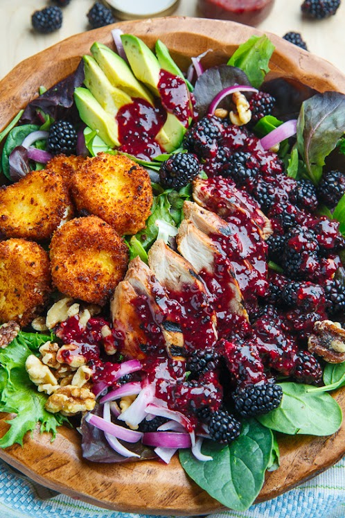 Blackberry Balsamic Grilled Chicken Salad with Crispy Fried Goat Cheese