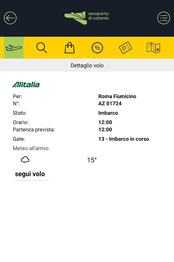 Aeroporto di Catania- screenshot