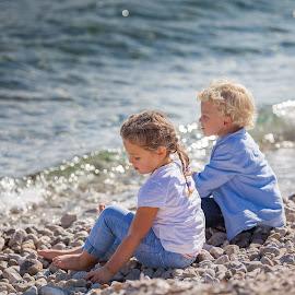 Anja&Nicholas by Gregor Grega - Babies & Children Children Candids ( waves, beautiful, sea, journey, beach, beauty, cute, spring, love, sitting, girl, lovely, stones, boy,  )