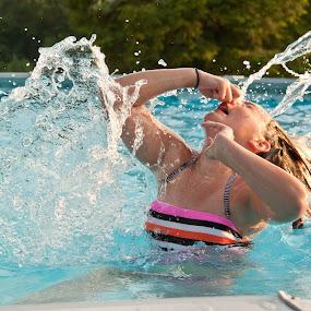 Making a Splash by Angela Moore - Babies & Children Children Candids ( child, water, blue, pool, summer, sunshine, swimming )