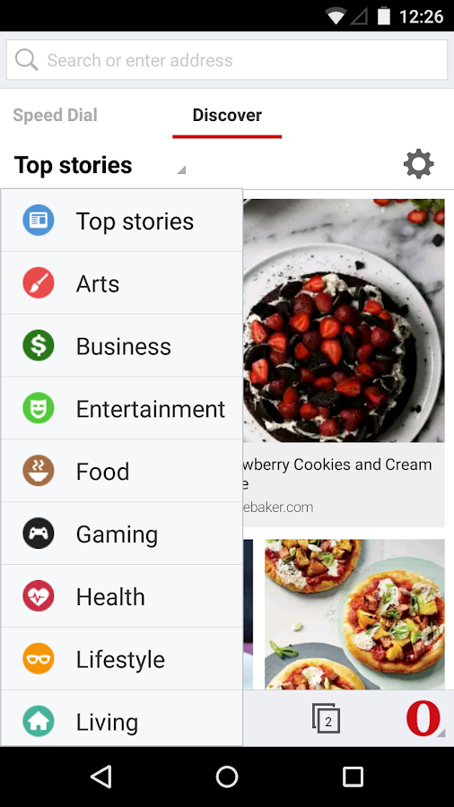 Opera browser for Android beta - screenshot