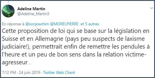 Tweet Adeline Martin Cette proposition de loi qui se base sur la législation en Suisse et en Allemagne permettrait enfin de remettre les pendules à l'heure