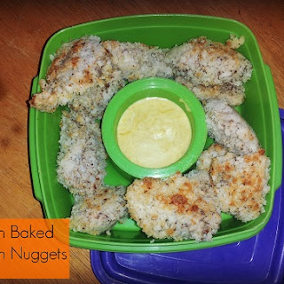 {Freezer to Lunchbox Series} Oven Baked Chicken Nuggets + Healthy Honey Mustard Dip