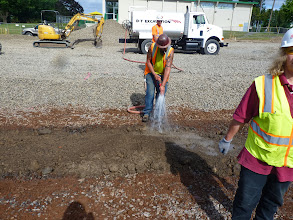 Photo: Water compacting the native soil portion...