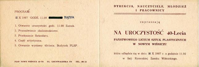 Photo: 16.10.1987 Zaproszenie na uroczystość 40-lecia PLSP