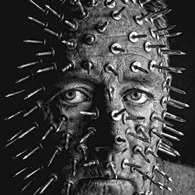 they say I'm sharp as a tack by Curtis Jones - People Portraits of Men ( black and white, texture, tacks )