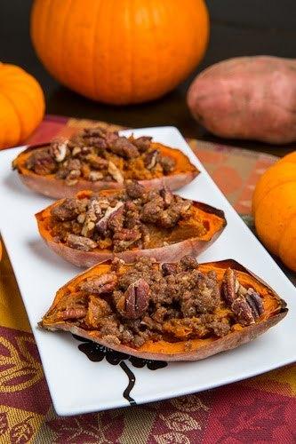 Twice Baked Sweet Potato With Pecan Streusel