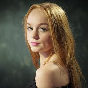 by Graham Sivills FBCS - People Portraits of Women ( redhead, red hair, long hair, green eyes, off the shoulder, auburn,  )