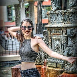 Girl in Fountain  by Billy Morris - People Street & Candids ( fountain, memphis, street, tn, girl, water, splash, cute )