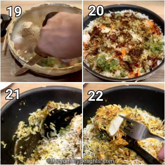 step by step collage of serving the biryani
