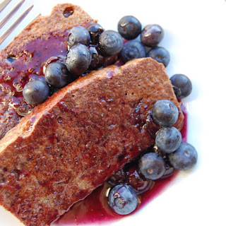 French Toast with Blueberry Syrup.