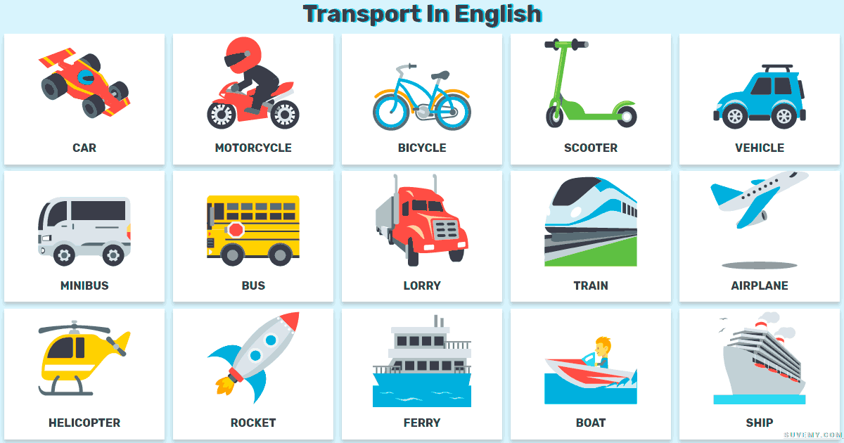 Transport In English - Means of transportation in English List ...