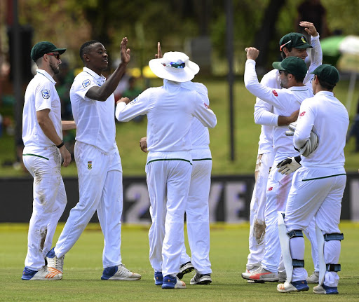 CHIEF DESTROYER Kagiso Rabada  celebrates his 10th wicket - his 100th Test career wicket - after the dismissal of Mahmudullah of Bangladesh,  as the Proteas wrapped up a massive win over the visitors at Mangaung Oval  in Bloemfontein yesterday Picture: Gallo Images