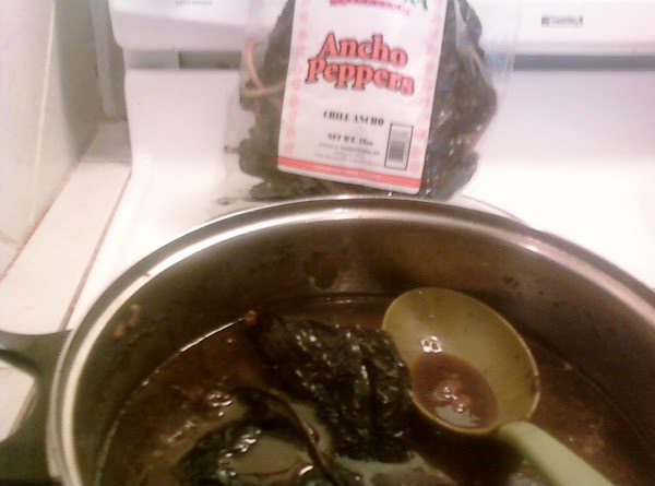 Ancho chilis soaking in beans