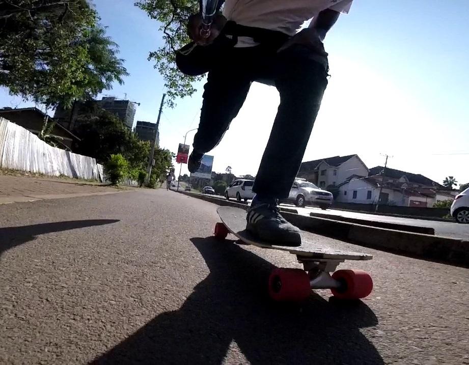 pushing on skateboard