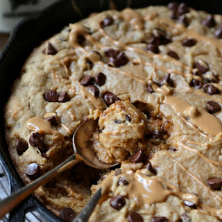 Peanut Butter Chocolate Chip Skillet Brownie.