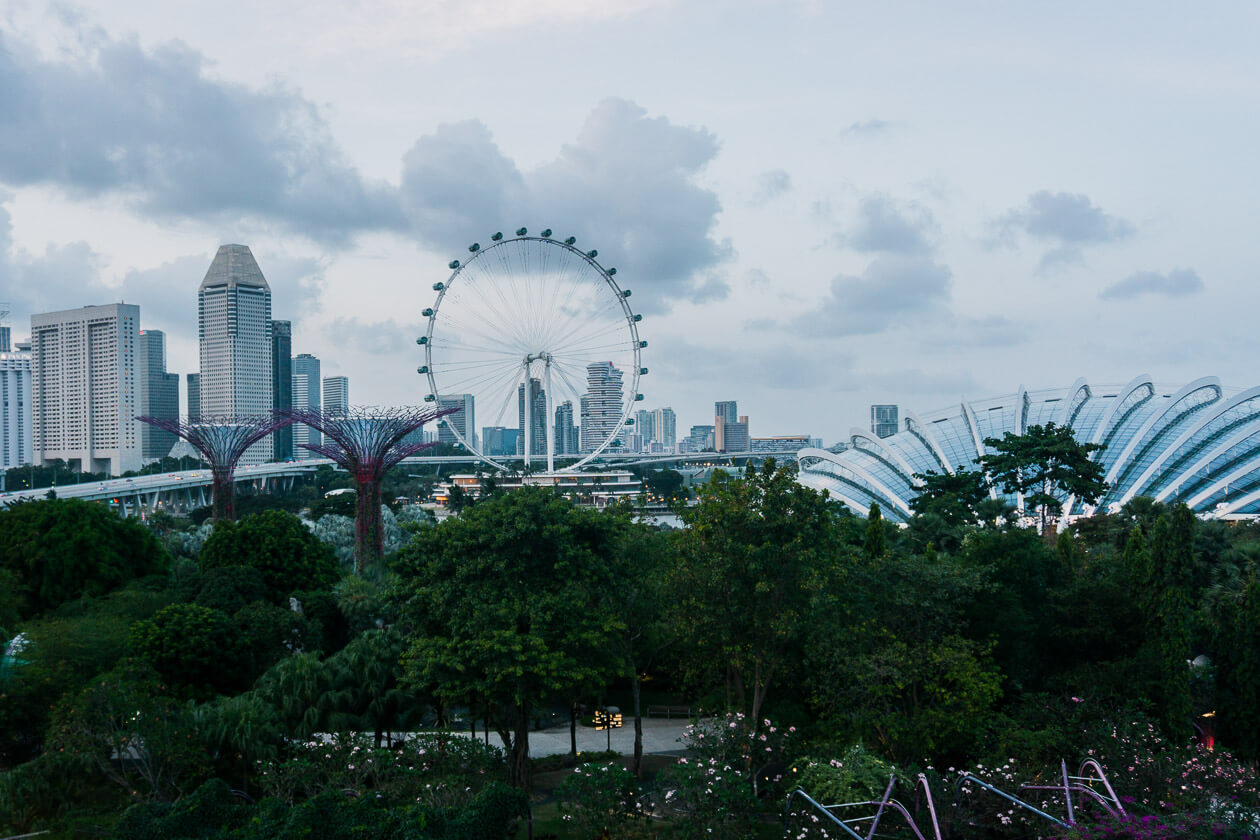 Gardens by the Bay and the Singapore Flyer.