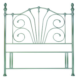 Classical Metal Floor Standing Headboard in Antique Nickel Finish