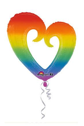 Folieballong, Regnbågshjärta öppen