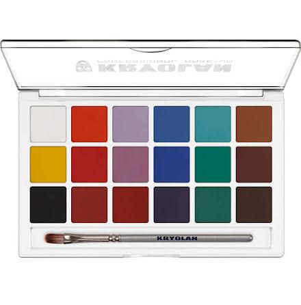 Kryolan Aquacolor palett 18 färger