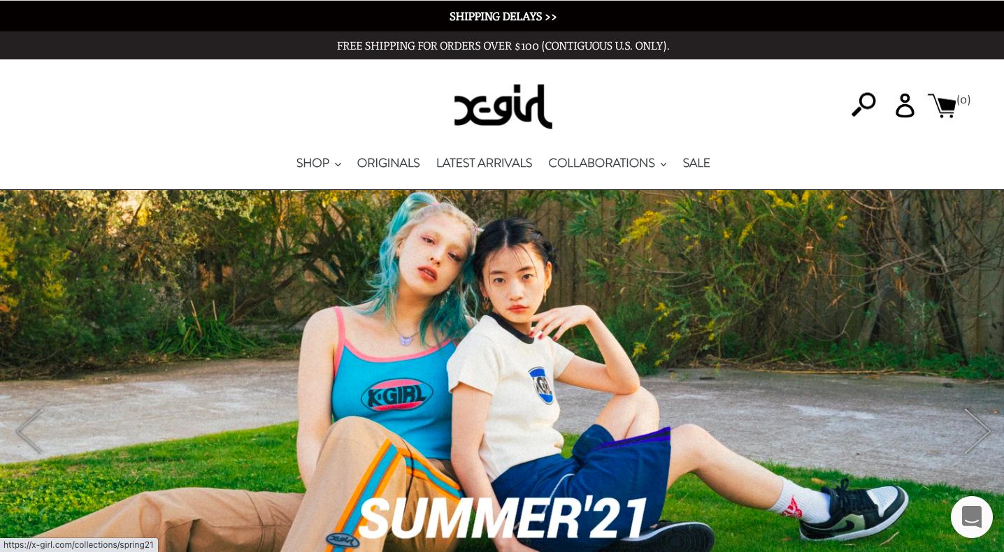 エックスガールは、日本のストリートレディスブランドです。海外のユーザーに向けて商品を販売するネットショップをShopifyで構築しています。