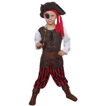 Barndräkt, randig pirat 134/140 cl