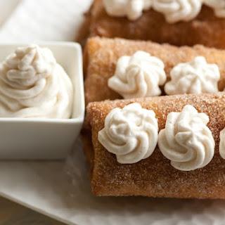 Apricot Almond Dessert Chimichangas With Cinnamon Mascarpone Cream.