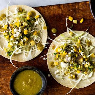Grated Squash, Corn and Tomatillo Tacos