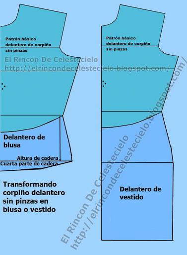 Transformando corpiño delantero sin pinzas en patrón delantero de blusa o vestido