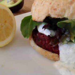 Beet Burger with Lemon Dill Greek Yogurt.