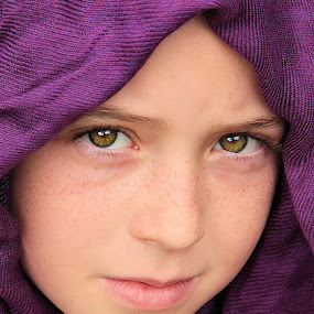 Purple Scarf by Sandy Considine - Babies & Children Child Portraits