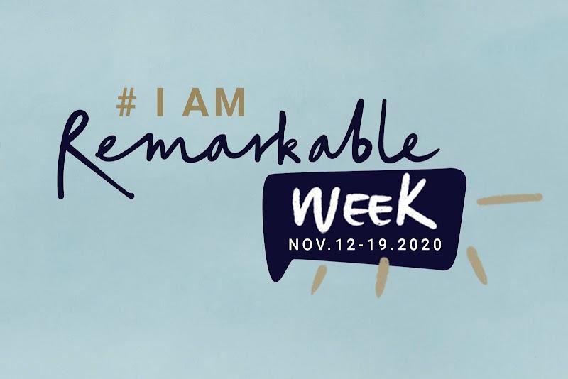 Event logo from #IamRemarkable Week November 12-19, 2020 on light blue background.