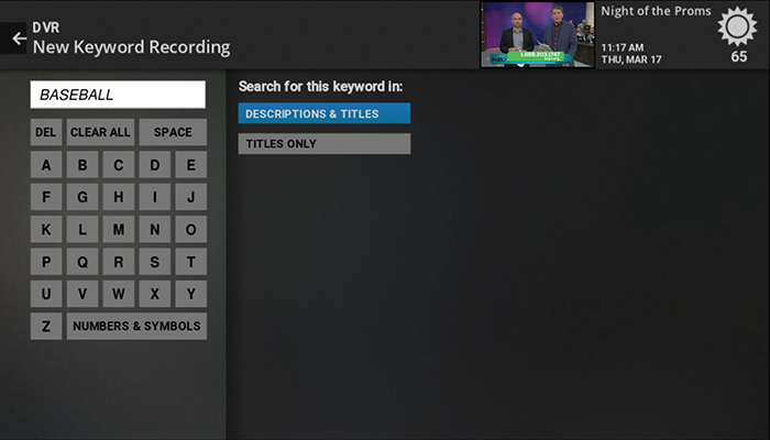 enter keyword recorded shows on Fiber TV