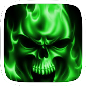 Flaming Skull Green Theme