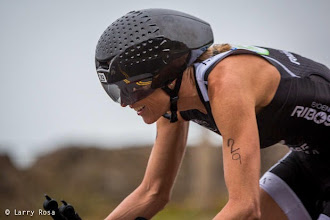 Photo: Laura Bennett (USA) keeps her eyes on the double yellow line on the bike at the 2014 Escape from Alcatraz Triathlon on June 1, 2014 in San Francisco, CA