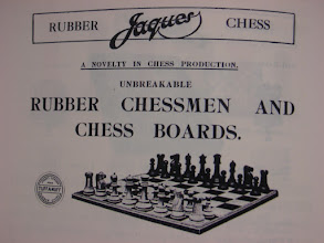 """Photo: CH295 - an advert for the Tuff-A-Nuff sets, again showing Jaques prominently involved. Note the roundel at the bottom left.  There is no sign of any cross on the kings.  The Jaques catalogue of 1927 has this to say: """"Specially recommended for Club or Cafe use to withstand Hard Wear and obliviate breakage. They are made from a Rubber compound which renders them to an extent flexible but are so constructed as to be unbreakable even if trodden upon. The general model of the men follows that of the reknowned """"STAUNTON"""" Chess"""".  It is not known when these sets were introduced/discontinued (although they existed in Jan.1925). Given that very few appear now, their production life may well have been fairly short - I wonder how popular they actually were and how many were made/sold?  If anyone has any additional information regarding these sets, I should be very glad to receive it. It would seem that they have mainly escaped the attention of students of Jaques' - possibly due to their scarcity or composition."""