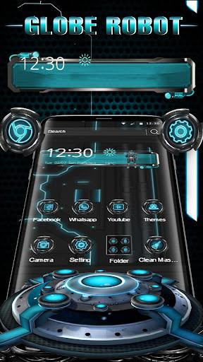 3D Blue Tech Globe Robot Theme screenshot 3